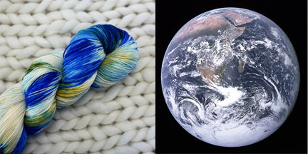 hand dyed yarn blue marble earth outer space planet