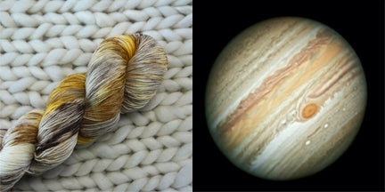 hand dyed yarn jupiter gas gianet brown outer space planet