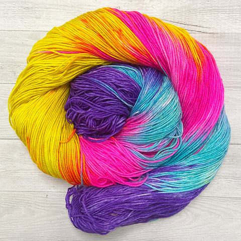 power of love hand dyed yarn purple yellow hot pink blue