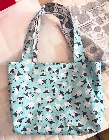 woolly dragon knitting project tote bag