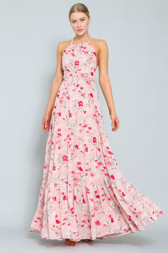 Pink and Red Floral Print Cross Back Maxi Dress