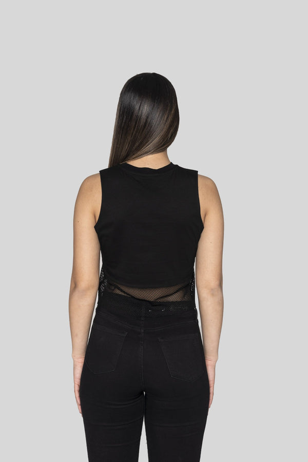 Black Shadows Crop Muscle Tee With Mesh Panel