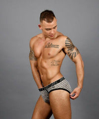 Andrew Christian S Andrew Christian Brief Sheer Stripe Briefs Sporty Slip Black & Gray  91312 57