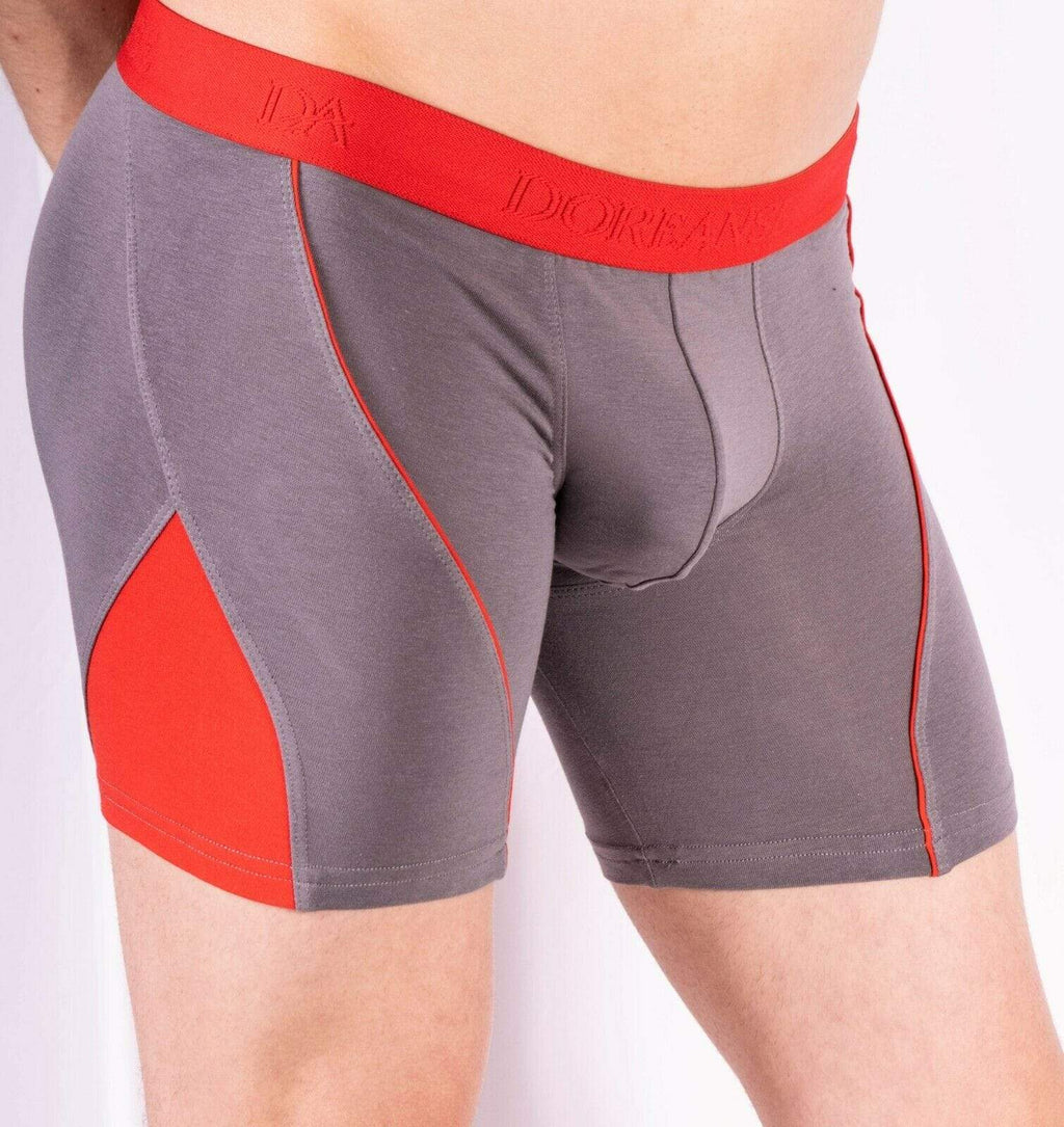 Doreanse L Doreanse Boxer Brief MicroModal Casual Cotton Boxer Grey-Red Combo 1754 59