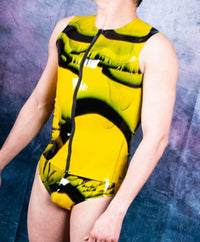 Polymorphe Mens Latex Briefs And TankTop Fetish Mens Rubber Suit Latex Suits Polymorphe YEL