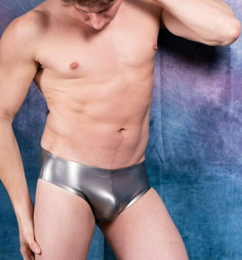 Polymorphe L Polymorphe Mens Rubber Underwear Mens Briefs Top Quality Mens Latex Silver 15A