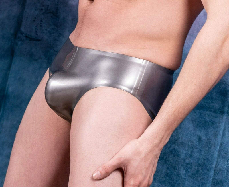 Polymorphe Polymorphe Mens Rubber Underwear Mens Briefs Top Quality Mens Latex Silver 15A