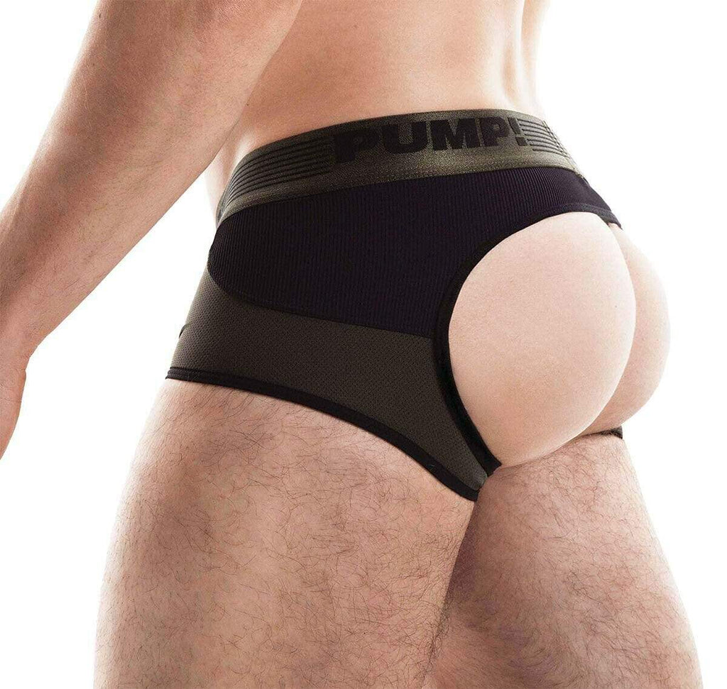 PUMP! S PUMP! Jock/Trunk Acces BottomLess Boxer Jockstrap BackLess Military 15033 48