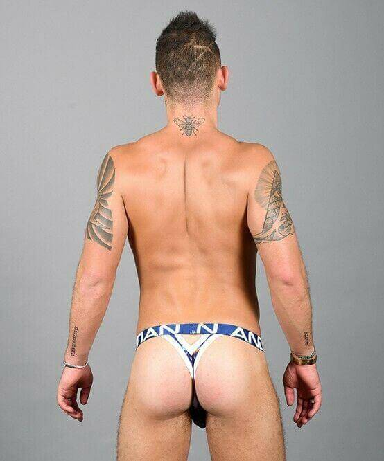 SexyMenUnderwear.com Andrew Christian Thong S*ck-it Y-Back Tangas Almost Naked Blue 91589 37