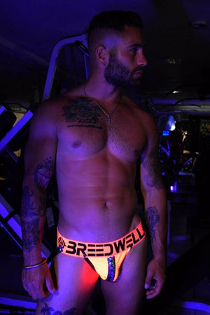 SexyMenUnderwear.com BREEDWELL Jocks Prism Blacklight Reflective Elastic Jockstraps Orange Neon 8