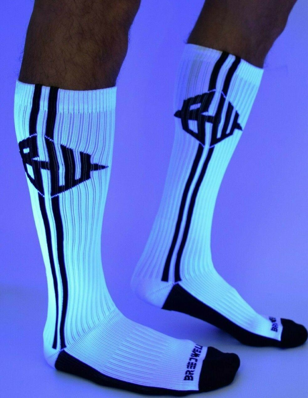SexyMenUnderwear.com BREEDWELL Knee-High Socks Backlight Icon Ribbed Long Sock White 9-12