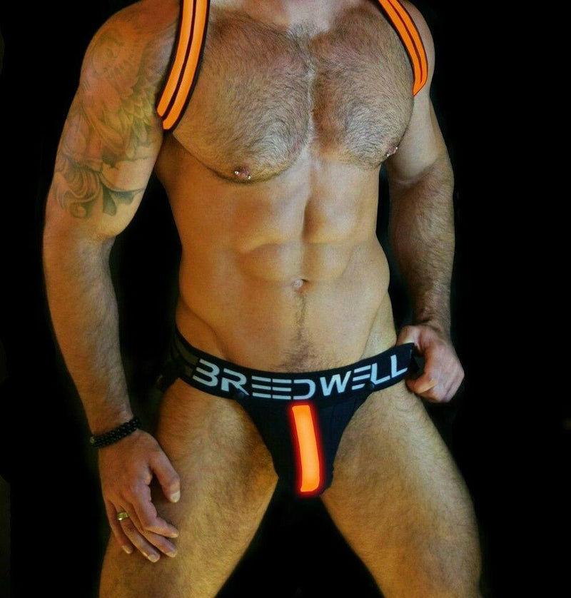 SexyMenUnderwear.com BREEDWELL LED Glow Jockstrap System Jock Removable 3 modes Orange Neon 17