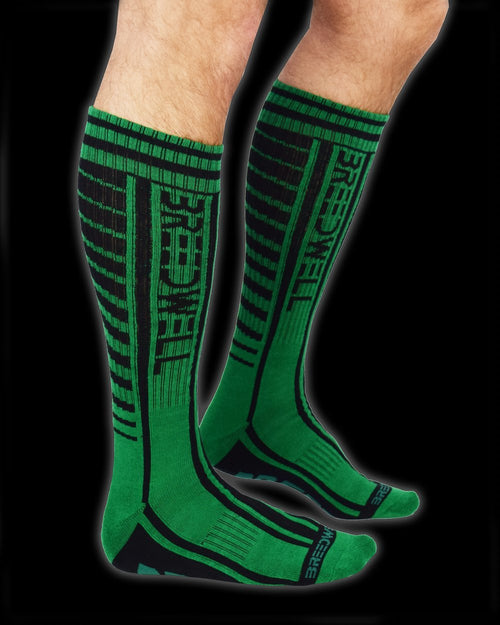 "SexyMenUnderwear.com BREEDWELL Socks Moto ""Breed'' Print Cotton Breathable Sock GREEN One Size BS3"
