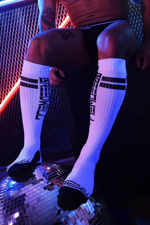 SexyMenUnderwear.com BREEDWELL Socks NEWSCHOOL 100% NYLON Mens Sock Classic White O/S 1