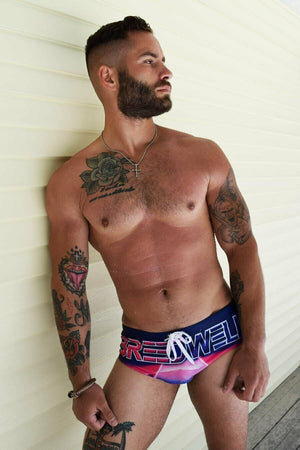 "SexyMenUnderwear.com BREEDWELL Swimwear ""RETRO DREAMS"" Swim Brief Atari fantasy 80s Brazilian cut 11"