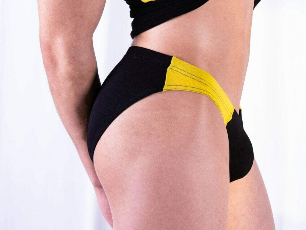 SexyMenUnderwear.com Doreanse Brief Basic Micro Briefs Slip Bikini Cut Black & Yellow 1099 45