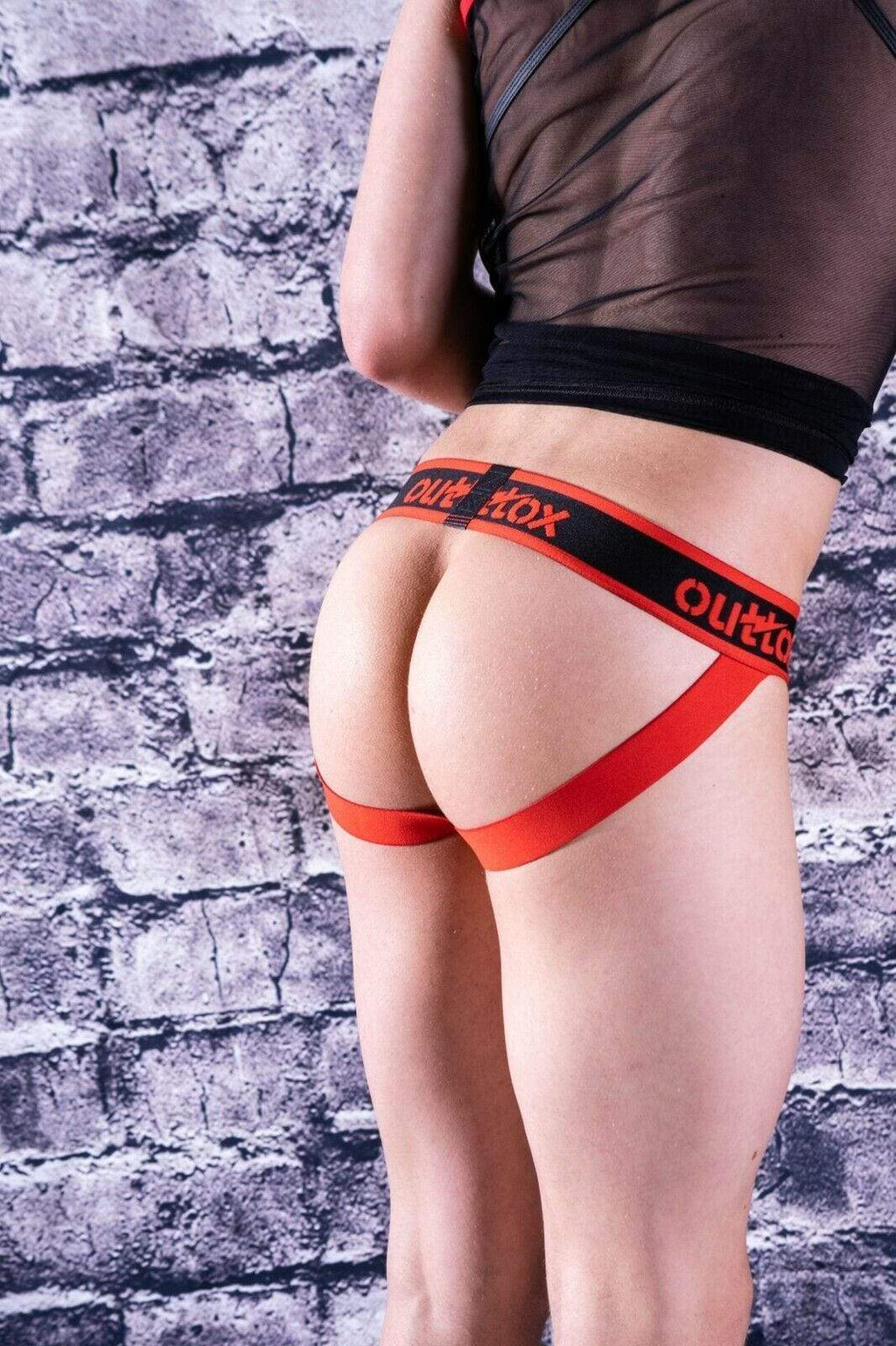 SexyMenUnderwear.com Outtox  By Maskulo Jock Provocative Jockstrap Leather Look Red JS140-10 7