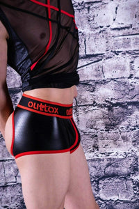 SexyMenUnderwear.com Outtox By Maskulo Shorts Open Back-Rear Boxer Trunks Fetish Red Tr140-10 4