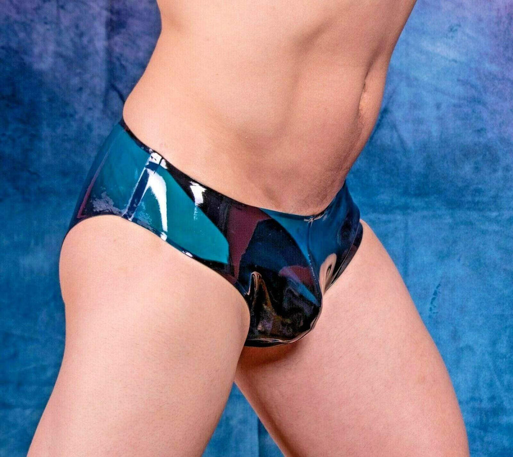 SexyMenUnderwear.com Polymorphe Mens Rubber Underwear Quality Mens Latex Mens Briefs Peacook 15AM 11