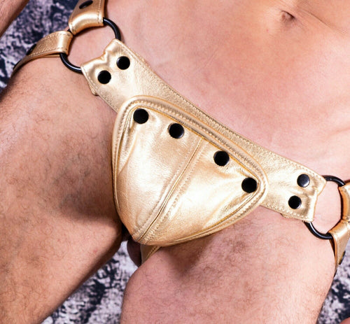 SexyMenUnderwear.com SMU Hand made Leather Jockstrap Removable Cod-Piece ajustable 32/38 in GOLD