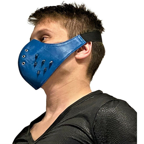 SexyMenUnderwear.com SMU Leather Masks Unisex Canadian Leather Studded Punk Mask Blue