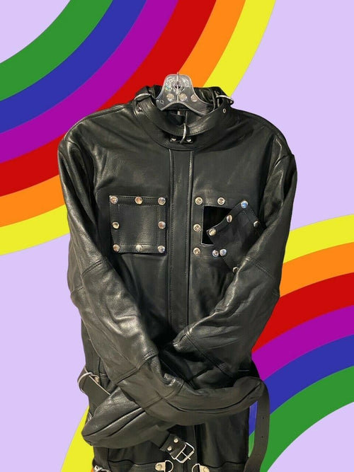SexyMenUnderwear.com SMU LEATHER SLEEP SACK strait jacket