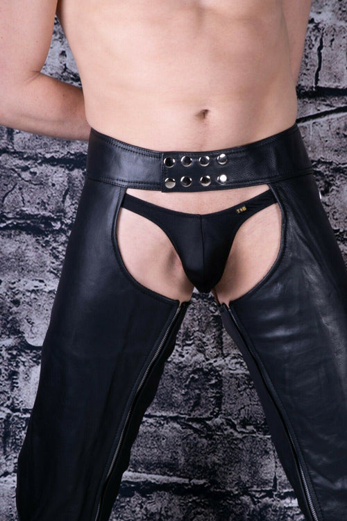 SexyMenUnderwear.com 32 TO 38 SMU Sexy Men Leather Shop Chaps black adjustable snaps and laced belt 31-38 4