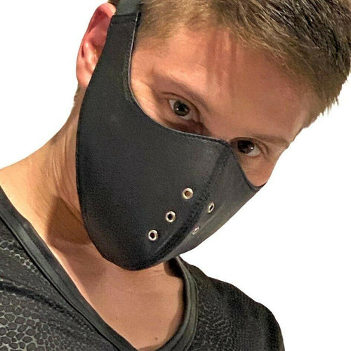SexyMenUnderwear.com SMU Sexy Men Unisex Canadian Leather Fashion mask wear it over a type 2 gear