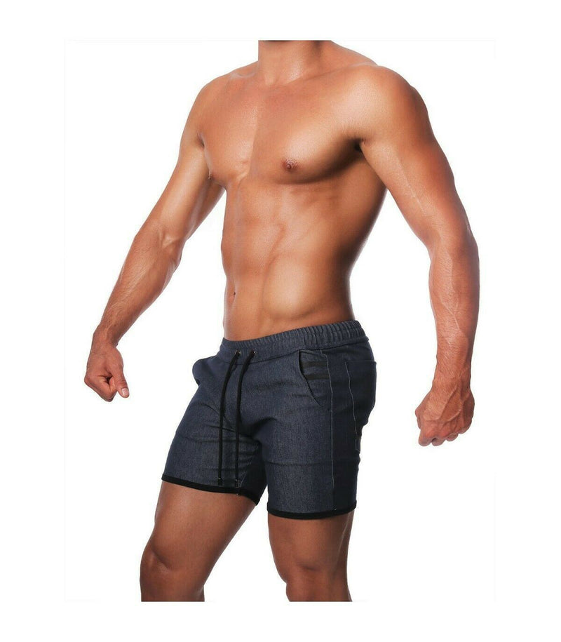 SexyMenUnderwear.com TOF PARIS COWBOY LONG SHORTS Low-Slung Drawstring Modern Style Dark Blue T1