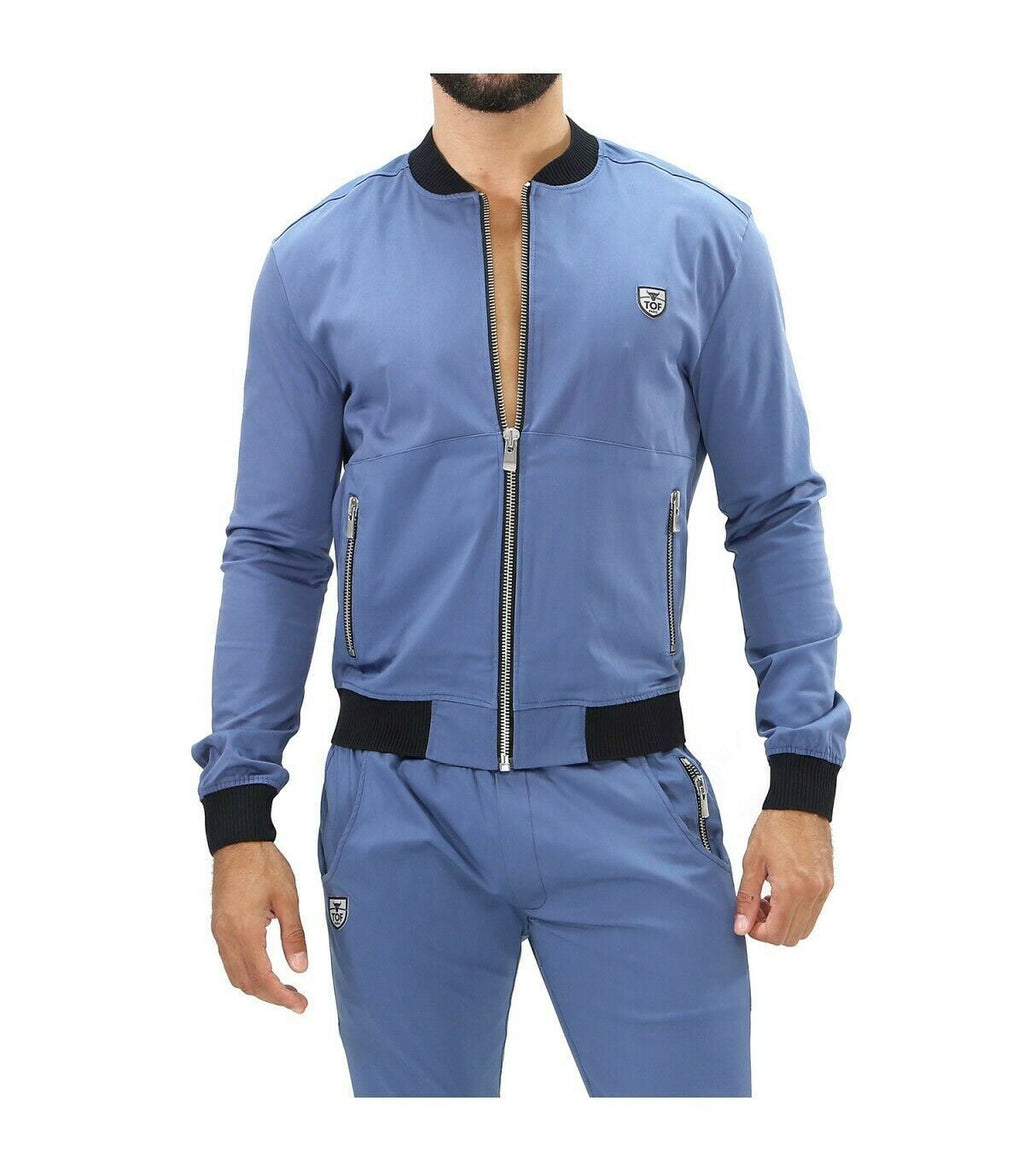 SexyMenUnderwear.com TOF PARIS JACKET FASHION Vest Elegant Urban Look Viscose Cotton Blend Blue T1