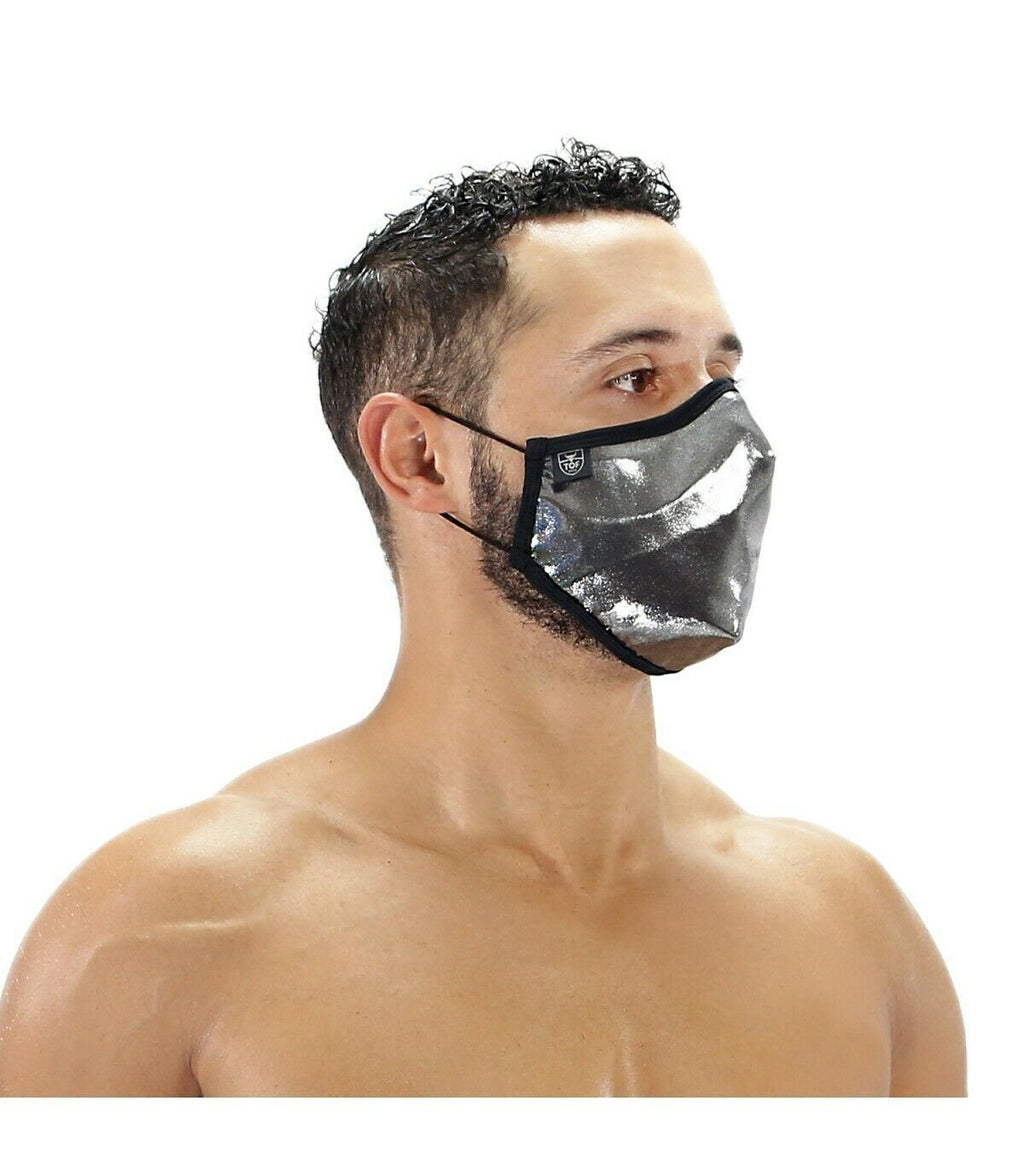 SexyMenUnderwear.com One Size TOF PARIS Mask METAL SILVER & NOZE CLIP Face Masks Double Layer Laminated Jersey