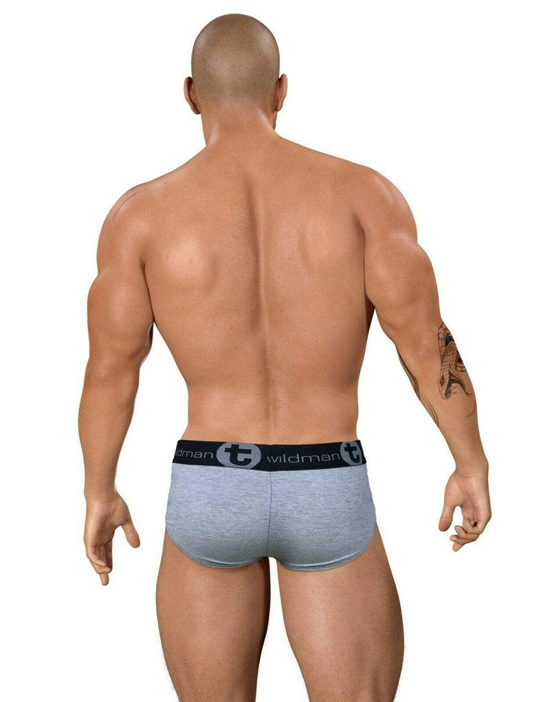SexyMenUnderwear.com WildmanT Briefs Stretch Cotton Underwear BigBoy Pouch Brief Gray/Red COBR 3