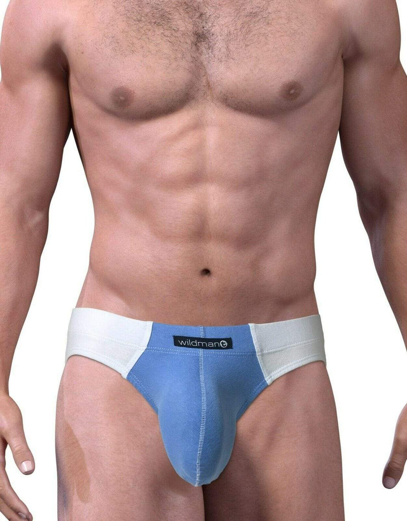 Wildmant WildmanT Brief-Bikini Cut Big Boy Pouch White/Blue MI-BI 4