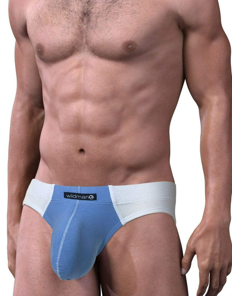 Wildmant XL WildmanT Brief-Bikini Cut Big Boy Pouch White/Blue MI-BI 4
