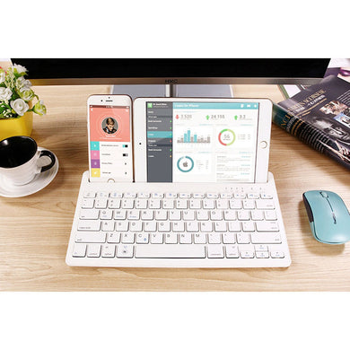 Bluetooth Multi-Device Keyboard works with Windows and Mac Computers, Android and iOS Tablets and Smartphones
