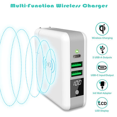 3-in-1 International Travel Adapter Wireless Charger Power Bank, QiPlus 6700mah External Battery Pack with Wall Charger and Qi Wireless Charging Pad for iPhone Samsung (LED screen,1xUSB-C+2xUSB-A port