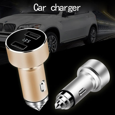 Car safety hammer LED digital display multi-function car charger