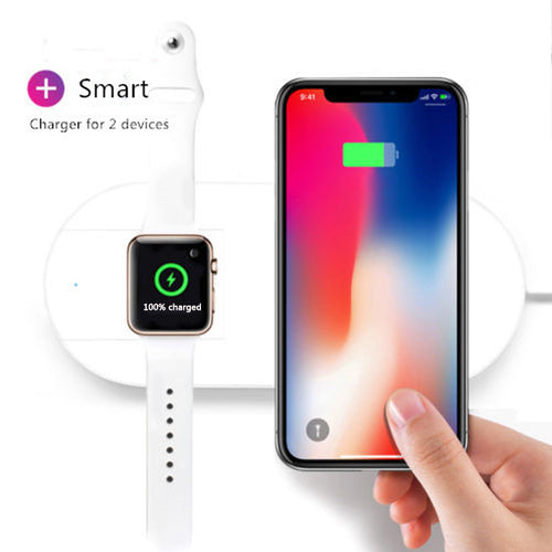 Apple Watch Charger, iPhone Wireless Charger Replacement, Ultra-Thin 2 in 1 Qi Charging Pad Stand Compatible