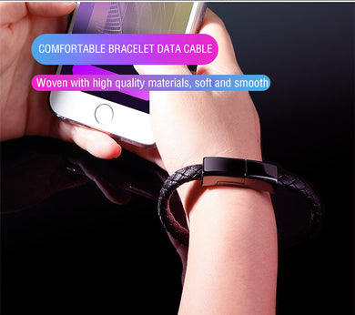 Creative leather woven bracelet fast charging data cable