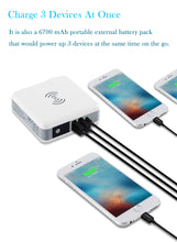 Load image into Gallery viewer, 3-in-1 International Travel Adapter Wireless Charger Power Bank, QiPlus 6700mah External Battery Pack with Wall Charger and Qi Wireless Charging Pad for iPhone Samsung (LED screen,1xUSB-C+2xUSB-A port
