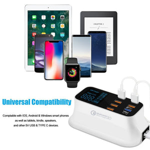 Quick Charge 3.0 Smart USB Type C Charger Station Led Display Fast Charging Power Adapter Desktop Strip Mobile Phone USB Charger