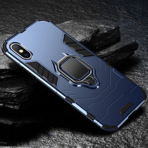 iPhone Case New [Heavy Duty] Tactical Metal Ring Grip Kickstand Shockproof Bumper