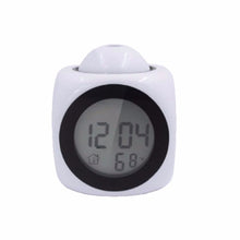 Load image into Gallery viewer, XNCH LCD Projection LED Display Time Digital Alarm Clock Talking Voice Prompt Thermometer Snooze Function Desk