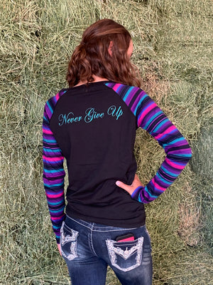 Cowgirl Tuff Black and Serape Raglan Long-Sleeve