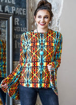 """L&B"" Red Turquoise Aztec Top"