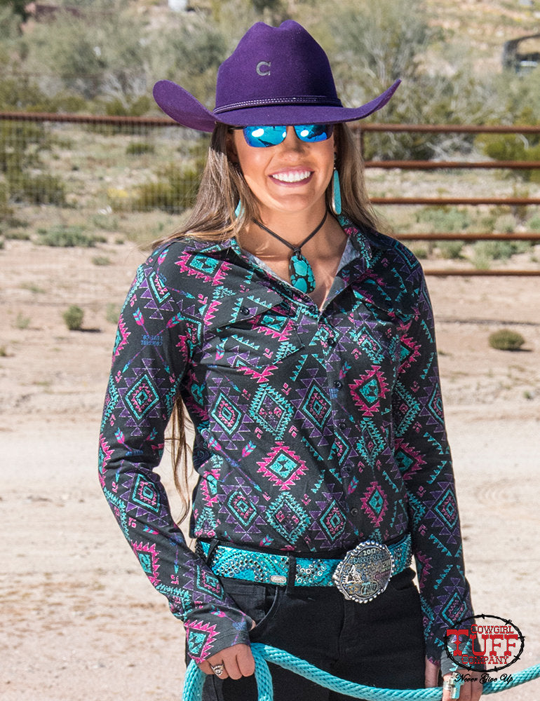 Cowgirl Tuff Black Aztec Pullover Faux Button Up