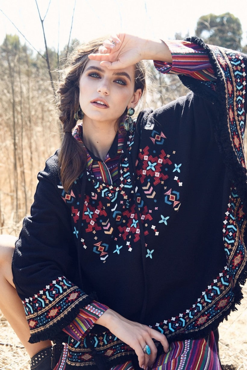 """Andree"" Embroidered Knit Poncho"