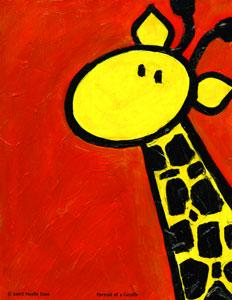 portrait of a giraffe art painting
