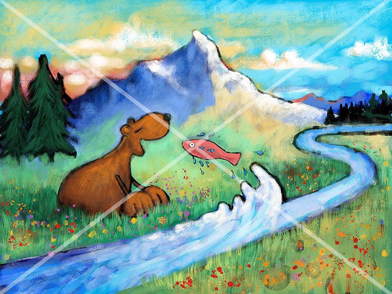 Salmon fish jumping into a bear's mouth canvas paper art print