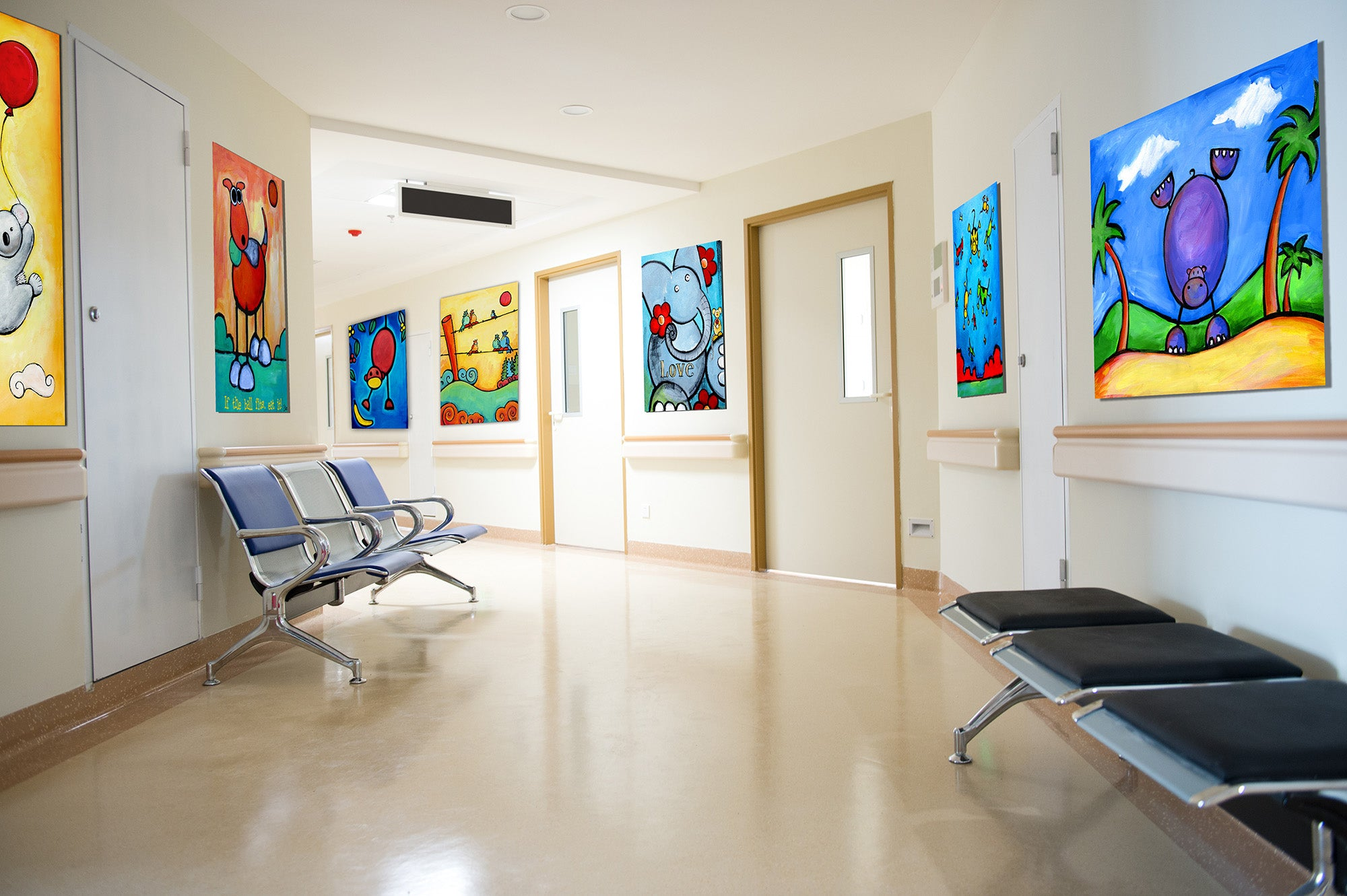 colorful happy art for pediatric childrens hospital clinic